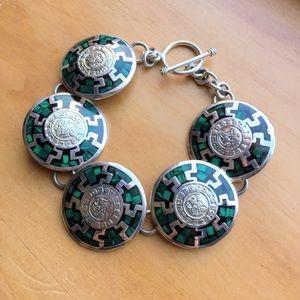 Vintage Mexico sterling silver malachite bracelet